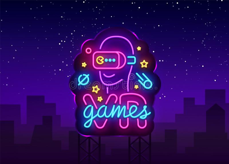 VR games neon sign vector. Virtual Reality Logotype Games, Emblem in Modern Trend Design, Vector Template, Light Banner. Night Vivid Video Game Promotion royalty free illustration