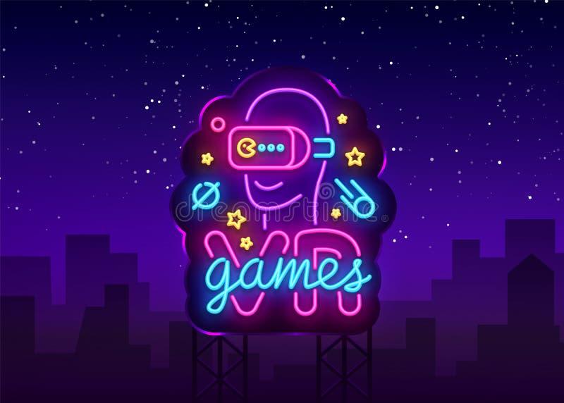 VR gier neonowego znaka wektor Rzeczywistość Wirtualna logotypu gry, emblemat w Nowożytnym trendu projekcie, Wektorowy szablon, L royalty ilustracja