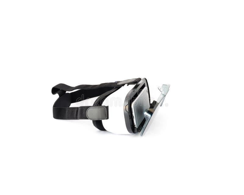 VR-Gläser oder Kopfhörer der virtuellen Realität lokalisiert auf Weiß stockbilder