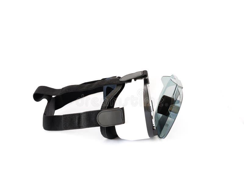 VR-Gläser oder Kopfhörer der virtuellen Realität lokalisiert auf Weiß lizenzfreie stockfotografie