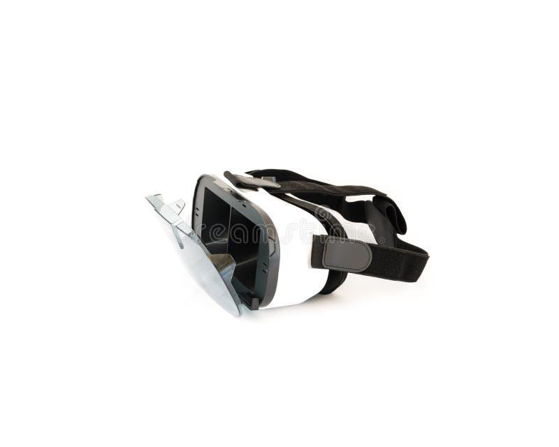 VR-Gläser oder Kopfhörer der virtuellen Realität lokalisiert auf Weiß lizenzfreie stockfotos