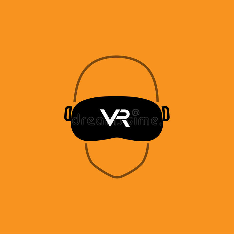 VR glasses - Virtual reality box on orange background. stock photography