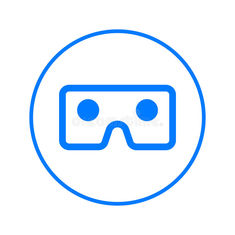 Vr glasses, virtual reality cardboard circular line icon. Round colorful sign. Flat style vector symbol. stock illustration
