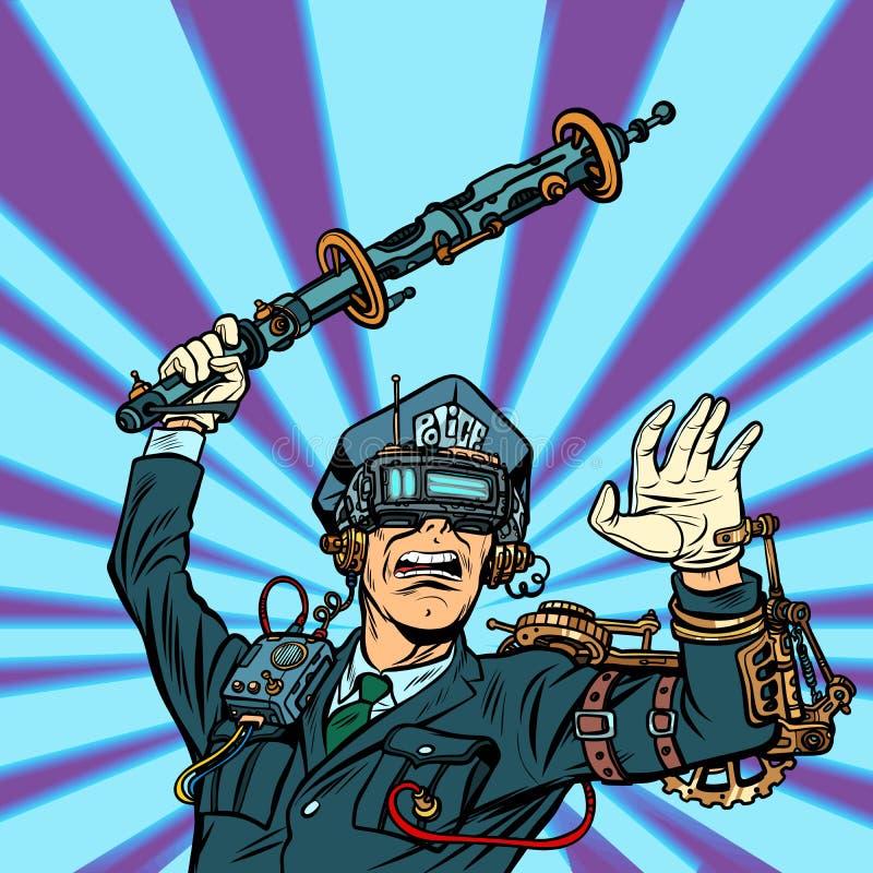 VR glasses. virtual reality. police violence, state censorship o. N the Internet concept. COP officer beat a baton. Pop art retro vector illustration vintage royalty free illustration