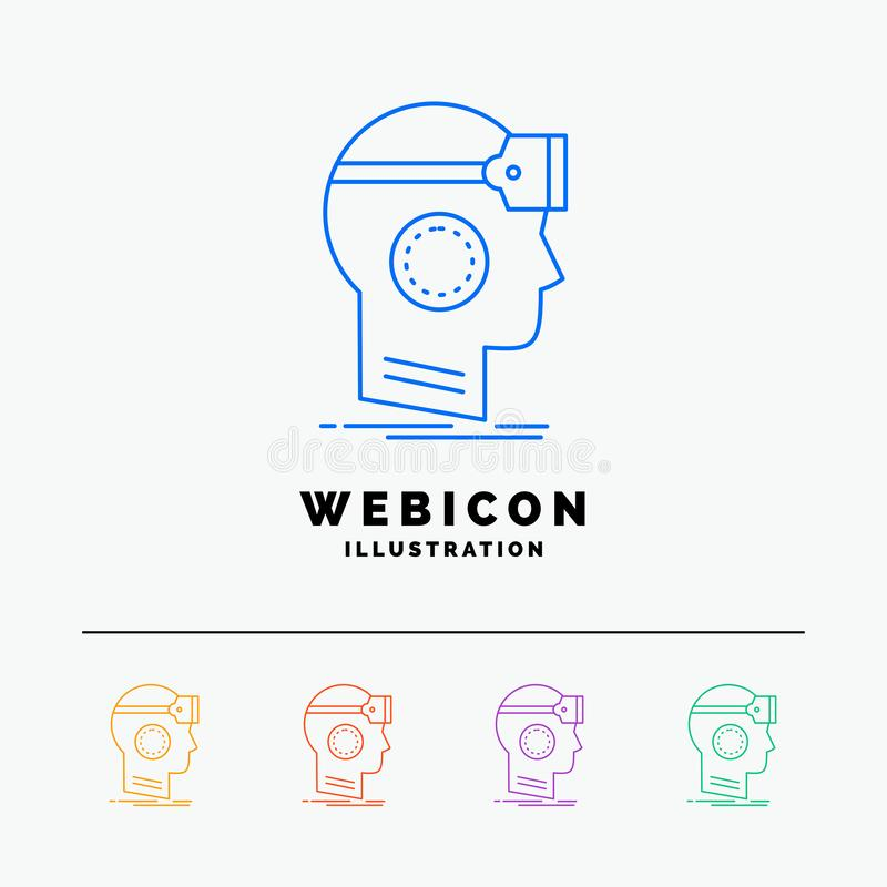 Free VR, Googles, Headset, Reality, Virtual 5 Color Line Web Icon Template Isolated On White. Vector Illustration Stock Photo - 145365580