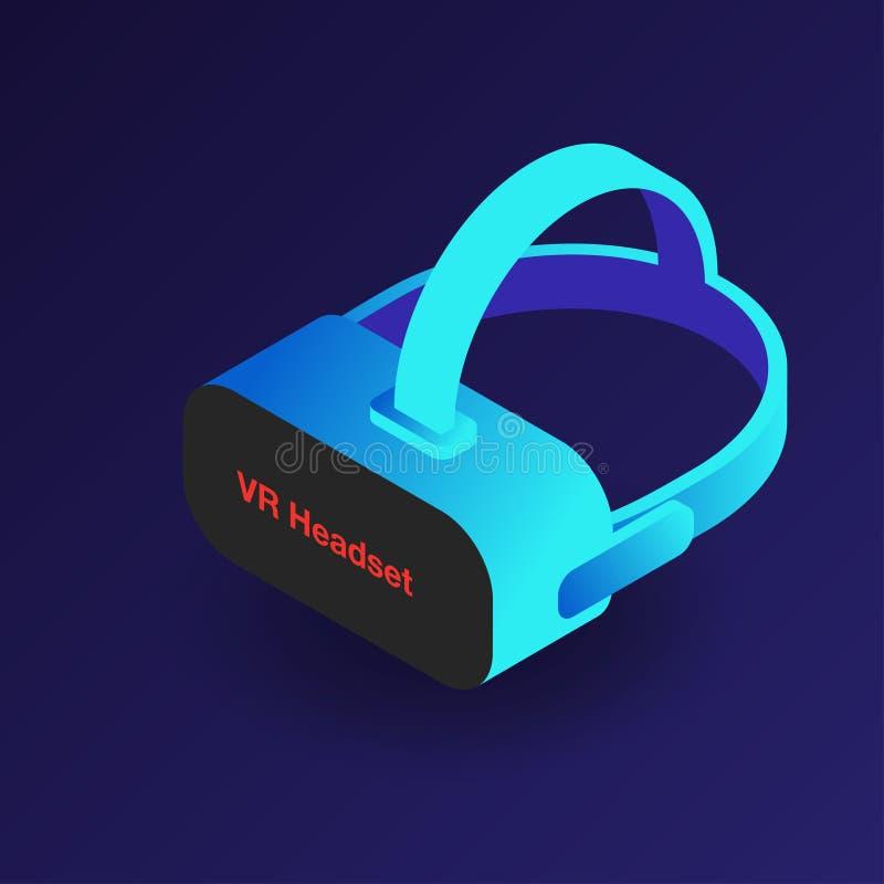 VR-hörlurar med mikrofon Isometriska exponeringsglas för virtuell verklighet 3d Modern digital cyberspaceteknologi royaltyfri illustrationer