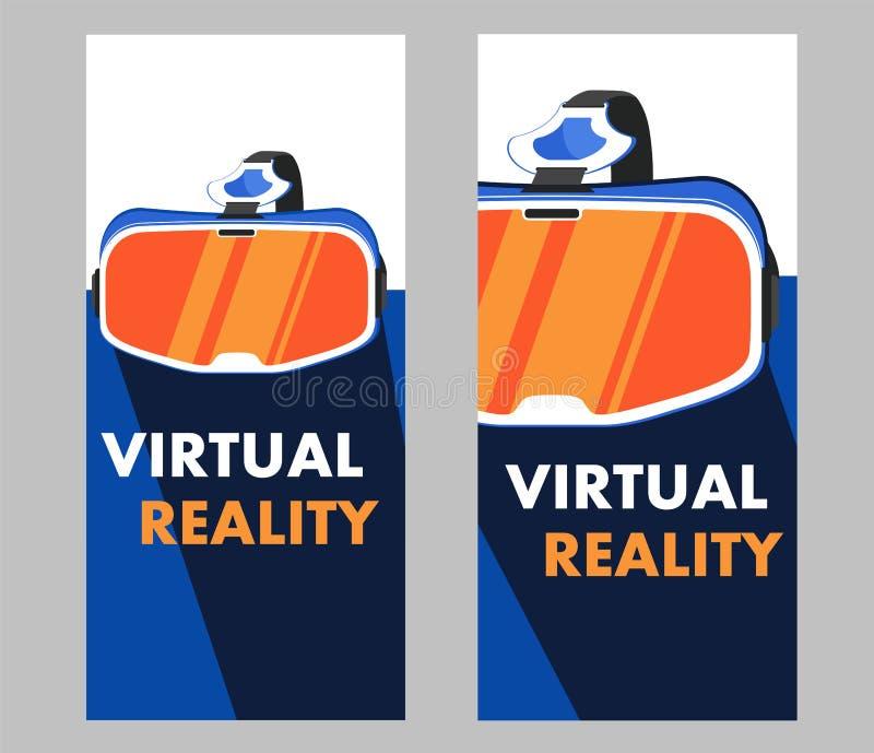 VR-hörlurar med mikrofonapparat i plan stil vektor illustrationer