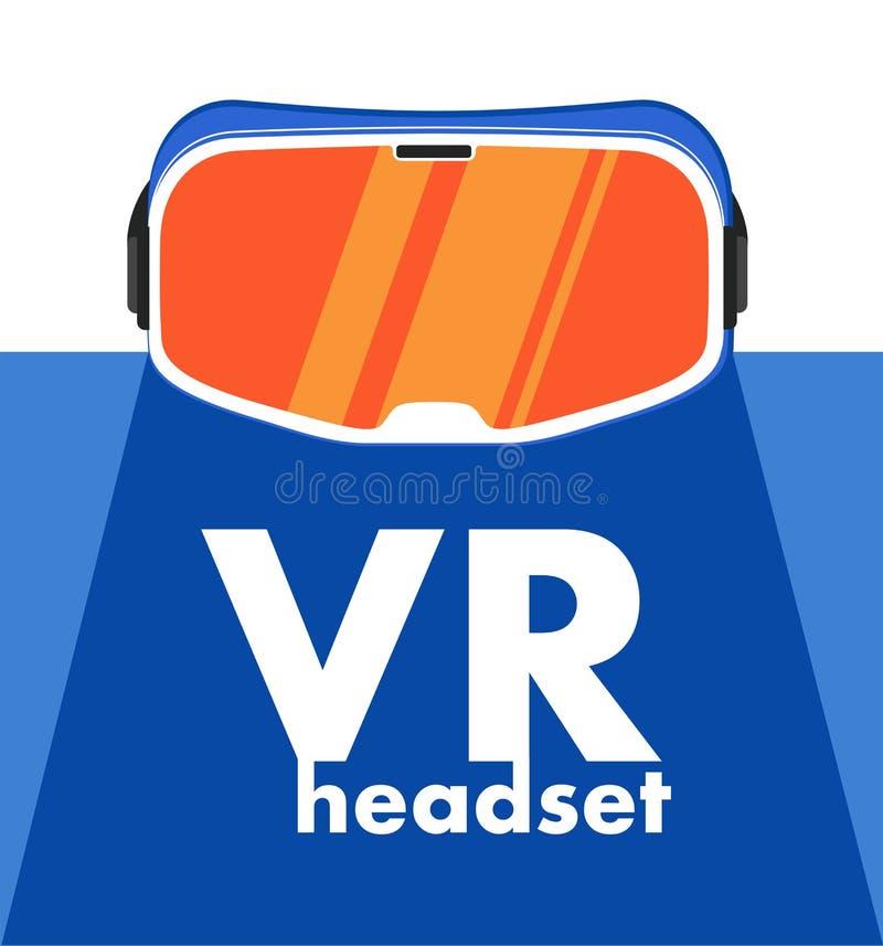 VR-hörlurar med mikrofonapparat i plan stil stock illustrationer