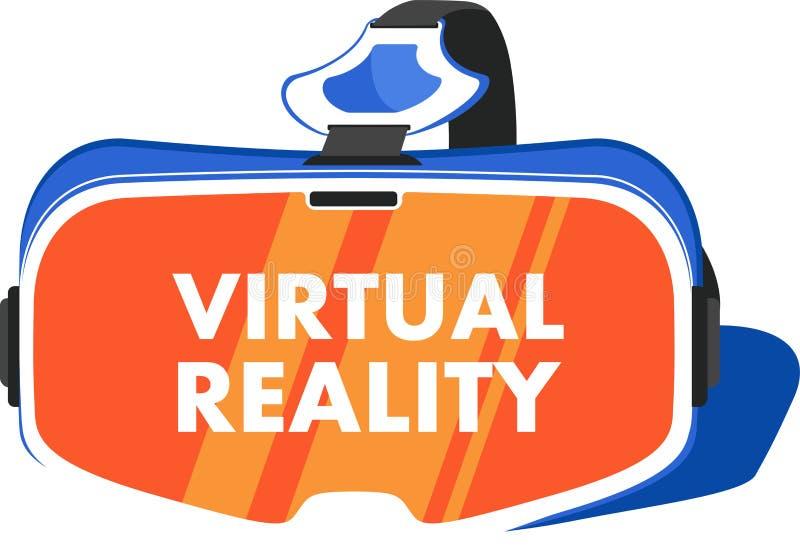 VR-hörlurar med mikrofonapparat i plan stil royaltyfri illustrationer