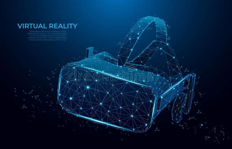 VR headset holographic projection virtual reality glasses, helmet. low poly wireframe geometric vector illustration. mesh art royalty free illustration
