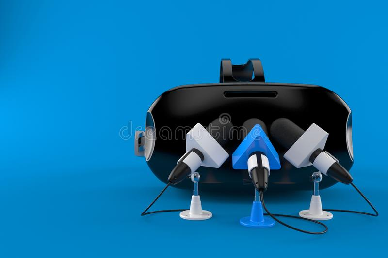 VR headset with interview microphones. Isolated on blue background. 3d illustration stock illustration