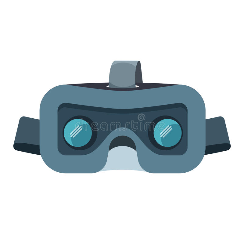 VR headset isolated on white. Stereoscopic virtual reality vector illustration stock illustration