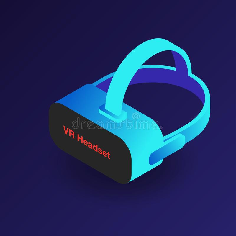 VR headset. Isometric 3d virtual reality glasses. Modern digital cyberspace technology royalty free illustration