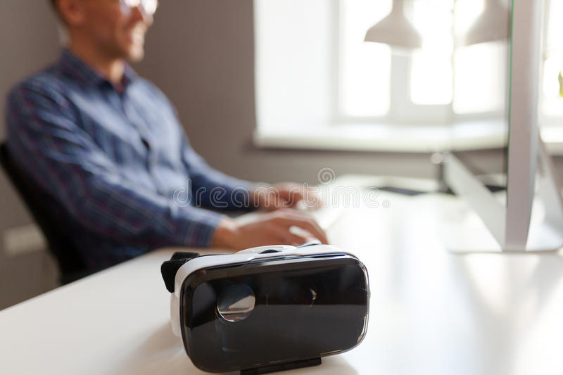 The VR headset at workplace royalty free stock photography