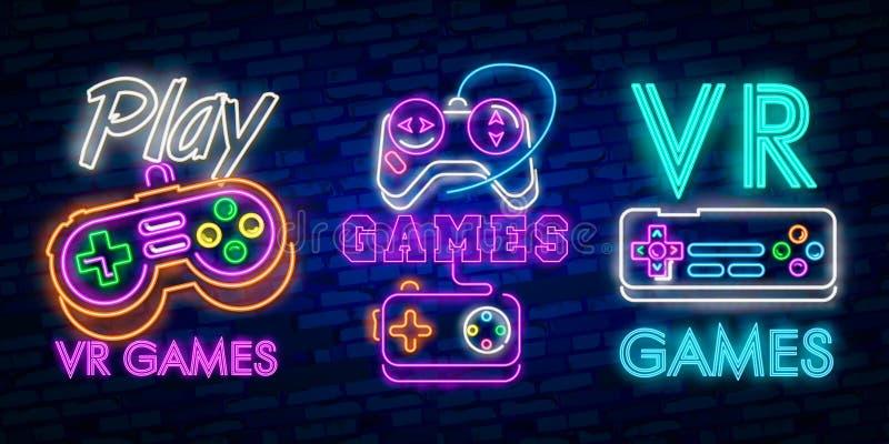 VR het tekenvector van het spelenneon De virtuele Spelen van Werkelijkheidslogotype, Embleem in Modern Tendensontwerp Het virtuel stock illustratie