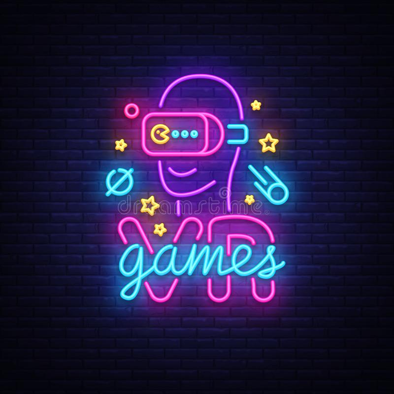 VR het tekenvector van het spelenneon De virtuele Spelen van Werkelijkheidslogotype, Embleem in Modern Tendensontwerp, Vectormalp royalty-vrije illustratie