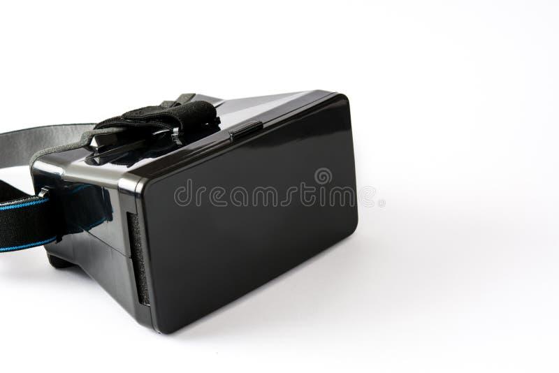 VR hoofdtelefoon van de glazen de Zwarte virtuele die werkelijkheid op witte achtergrond wordt geïsoleerd royalty-vrije stock foto