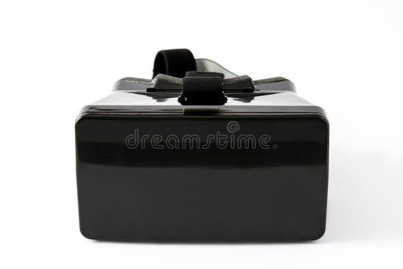 VR hoofdtelefoon van de glazen de Zwarte virtuele die werkelijkheid op witte achtergrond wordt geïsoleerd stock afbeeldingen