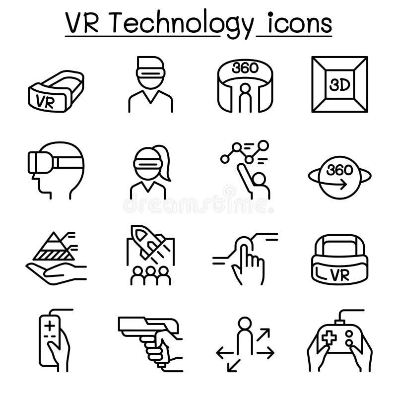 VR, icône virtuelle de technologie a placé dans la ligne style mince illustration de vecteur