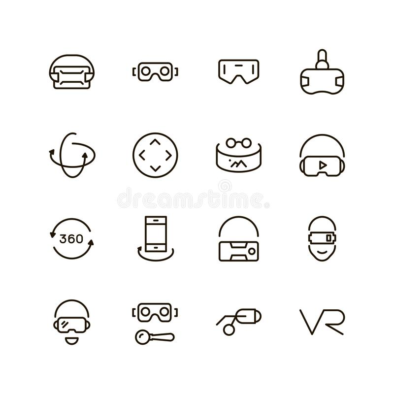 VR icon set. Collection of high quality black outline logo for web site design and mobile apps. Vector illustration on a white background stock illustration