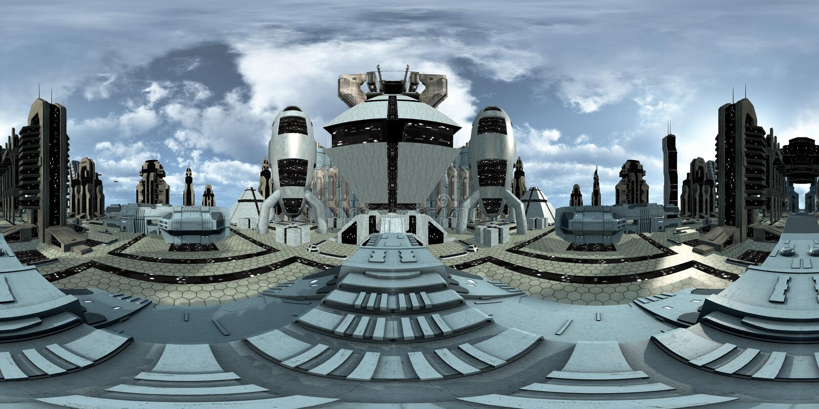 Spherical 360 degrees, seamless panorama of a futuristic discovered city. 3D rendering vector illustration