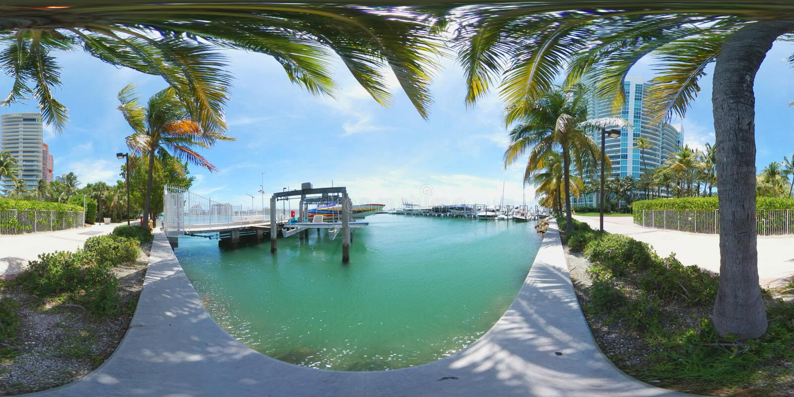 360 vr image Miami Beach Marina. Stock photo of the Miami Beach Marina shot with a spherical 360 vr camera stock photography