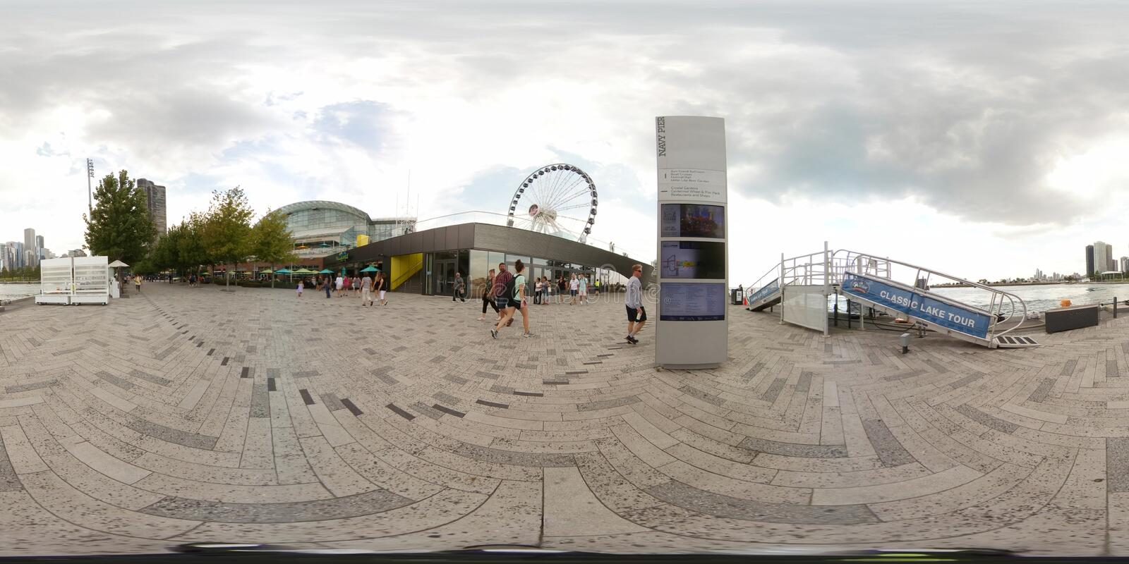 360vr image of the Navy Pier Chicago. CHICAGO, IL, USA - AUGUST 8, 2017: 360vr image of the Navy Pier which is a 3300 foot pier on the Chicago shoreline of Lake royalty free stock photography