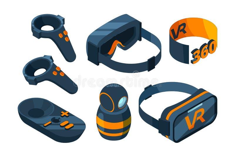 VR isometric ikona Zanurzony rzeczywistości wirtualnej doświadczenia hazardu wyposażenia hełm i szkło symulanta wektoru 3D obrazk ilustracji