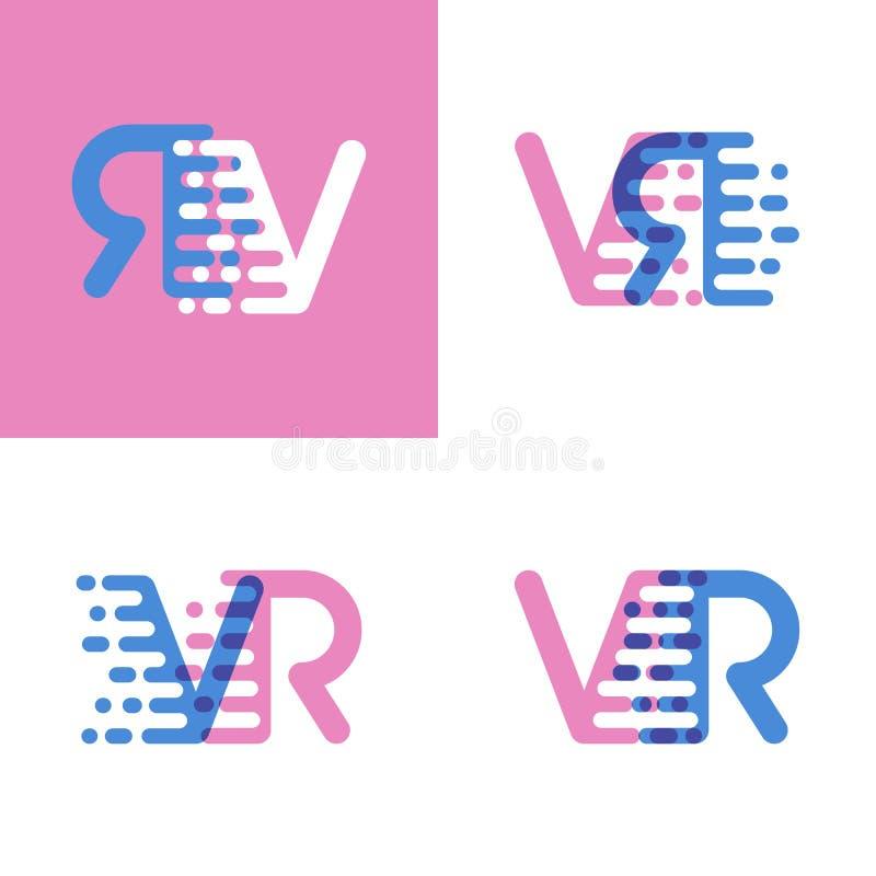 VR marque avec des lettres le logo avec le rose et doucement le bleu de vitesse d'accent doucement illustration libre de droits