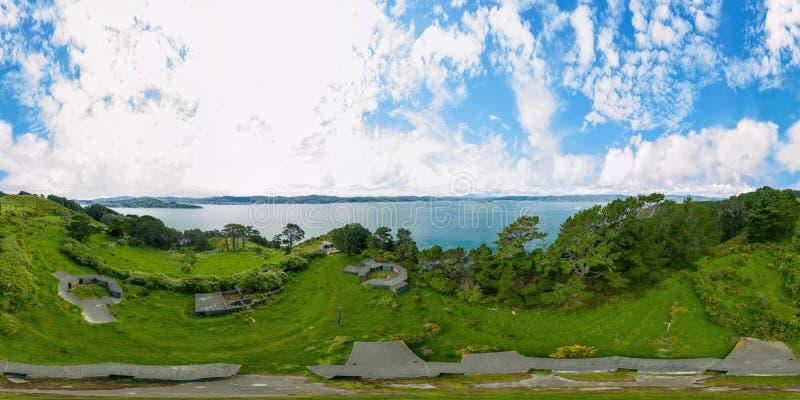360 VR Pano, depósitos de Wellington WWII, península de Miramar imagens de stock