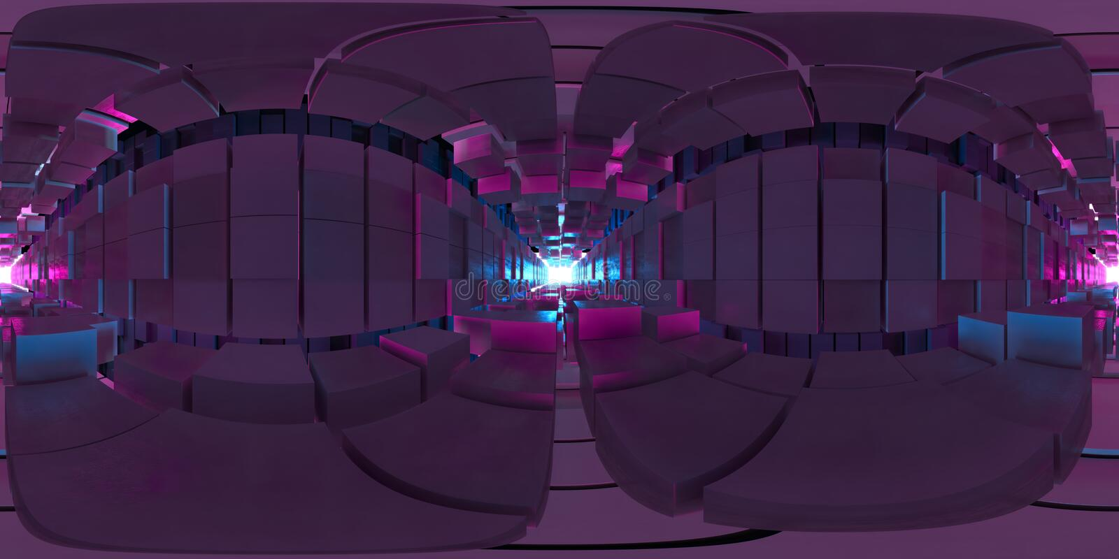 VR 360 panorama Abstract image of the cube background, the path to the light, Plastic Pink and Blue background vector illustration