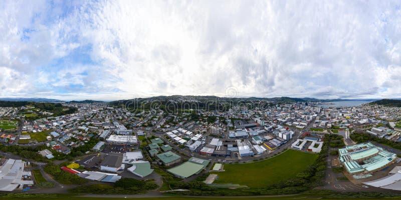 360 VR Panorama, Wellington miasta Wysokiego kąta widok obraz royalty free