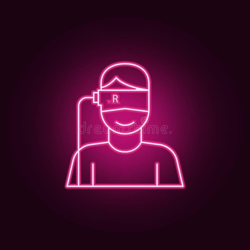 vr pictogram van de glazen het virtuele werkelijkheid Elementen van kunstmatig in de pictogrammen van de neonstijl Eenvoudig pict vector illustratie