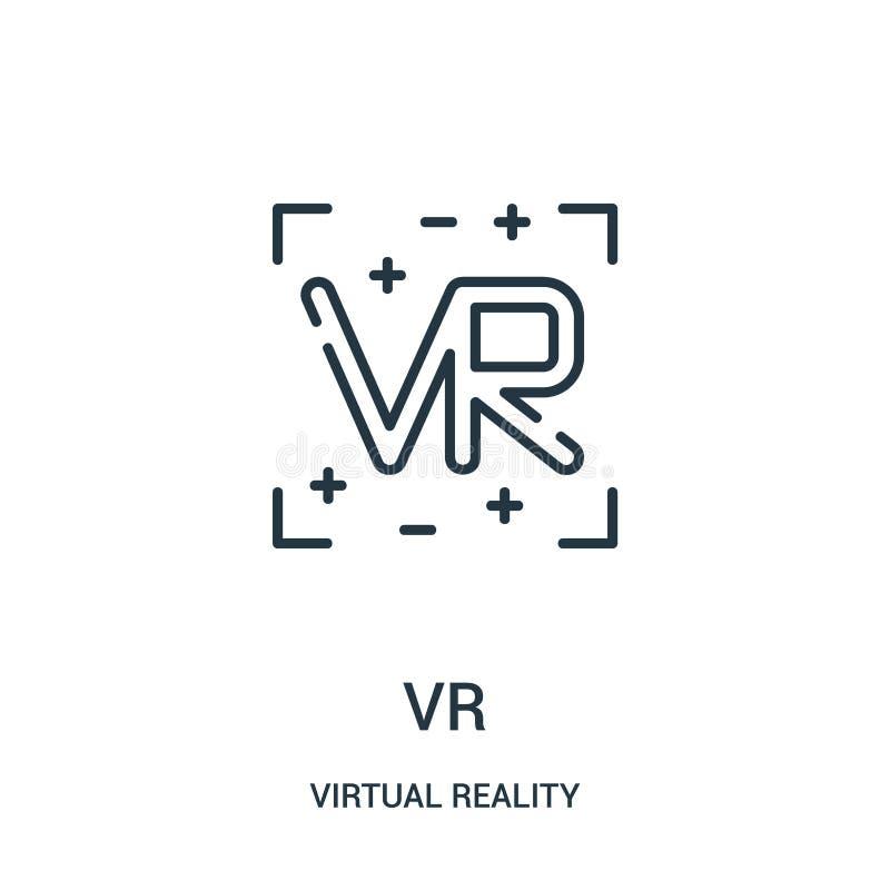 vr pictogramvector van virtuele werkelijkheidsinzameling De dunne lijn vr schetst pictogram vectorillustratie stock illustratie