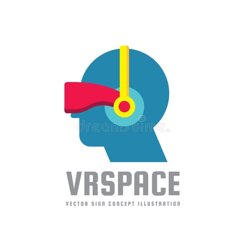 VR-Raum - Konzeptlogoschablonen-Vektorillustration Kreatives Zeichen des Sturzhelms der virtuellen Realität Intelligentes Glassym stock abbildung
