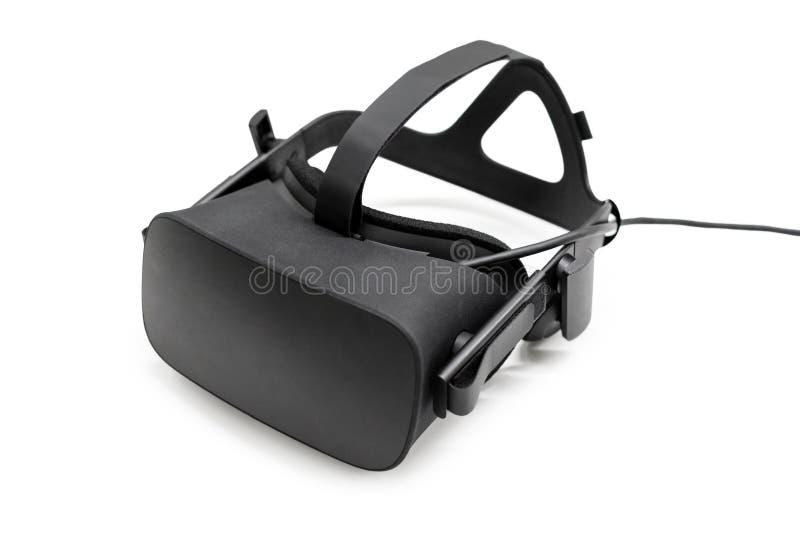 VR rzeczywistości wirtualnej słuchawki połówka obracał dalej białego tło Hazardu przyszłościowy przyrząd, rzeczywistość wirtualna obrazy stock