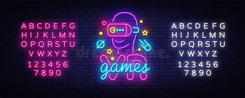 VR-Spiel-Leuchtreklamevektor Firmenzeichen-Spiele der virtuellen Realität, Emblem im modernen Tendenz-Design, Vektor-Schablone, h lizenzfreie abbildung