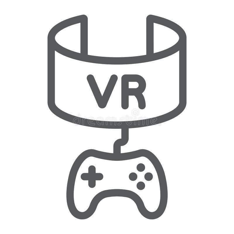 VR-Spiellinie Ikone, Gerät und Unterhaltung, Kopfhörerzeichen der virtuellen Realität, Vektorgrafik, ein lineares Muster auf a vektor abbildung