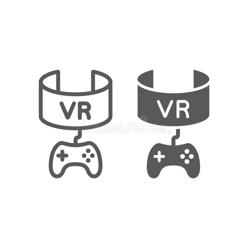VR-Spiellinie und Glyphikone, Gerät und Unterhaltung, Kopfhörerzeichen der virtuellen Realität, Vektorgrafik, ein lineares Muster stock abbildung