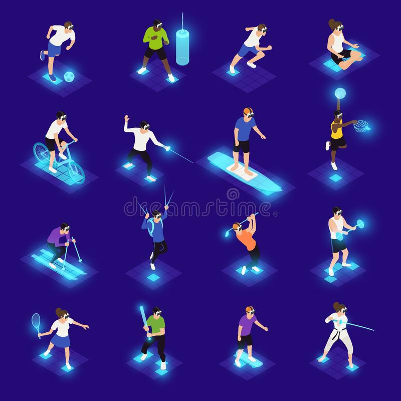 VR Sports Isometric Icons. Human characters in vr glasses during various sports activity isometric icons on blue background isolated vector illustration royalty free illustration