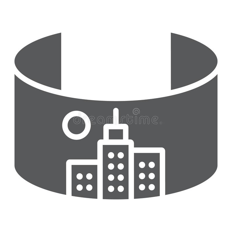 VR-Stadt Glyphikone, virtuell und Stadt, virtuelles Stadtzeichen, Vektorgrafik, ein festes Muster auf einem weißen Hintergrund stock abbildung
