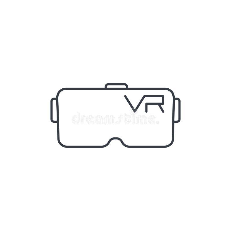 VR szkła, gogle, rzeczywistości wirtualnej 360 cienka kreskowa ikona Liniowy wektorowy symbol ilustracji