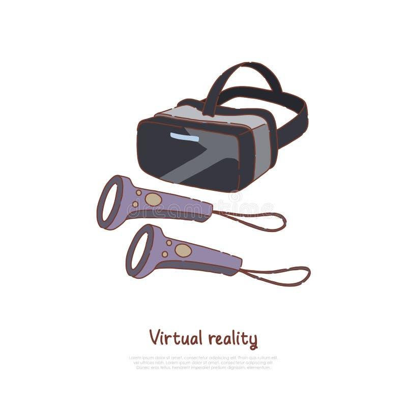 VR szkła z kontrolerami, interaktywną rozrywki innowacją, gadżetem dla biznesu i edukacją, AR technologii sztandar royalty ilustracja