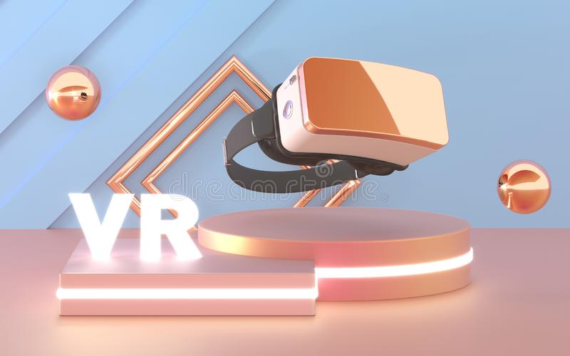 VR szk?a Rzeczywisto?ci wirtualnej s?uchawki przyrz?d Abstrakcjonistyczny VR pokój z podium dla prezentacji 3d produktu ?wiadczen royalty ilustracja