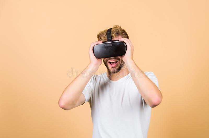 VR technologies. Working on Programing Project. Digital future and innovation. man wear wireless VR glasses headset. Virtual reality goggles. Modern business stock photos