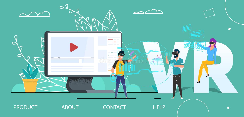 VR technologii interfejs użytkownika lądowania Płaska strona royalty ilustracja