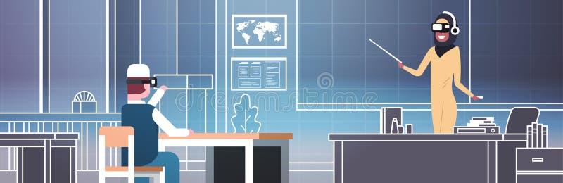 Vr Uczy kogoś lekcję Z Arabskim mężczyzna uczniem I Żeńskim nauczycielem W 3d szkłach W Klasowego pokoju rzeczywistości wirtualne royalty ilustracja