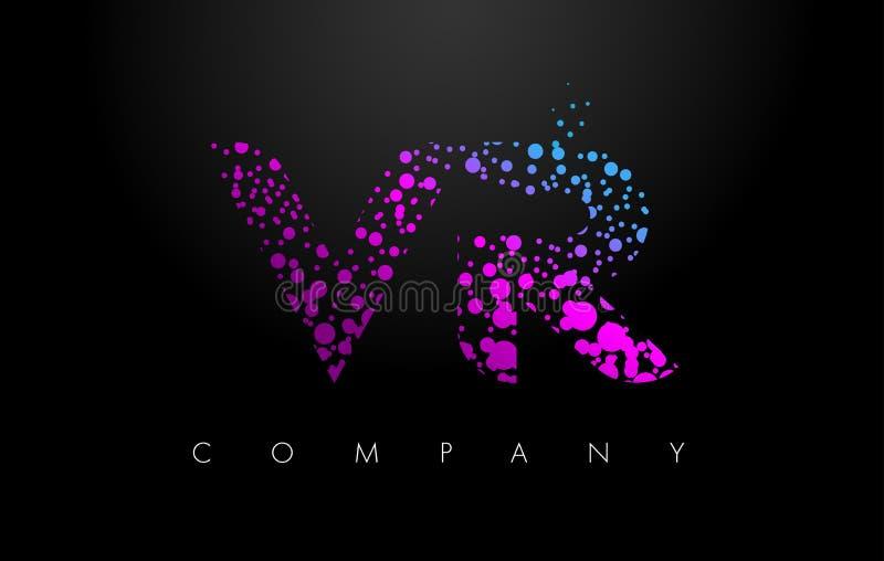 VR v R与紫色微粒和泡影小点的信件商标 向量例证