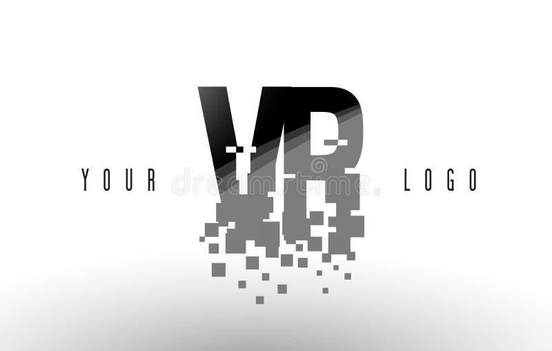 VR v R映象点与数字式被打碎的黑角规的信件商标 向量例证