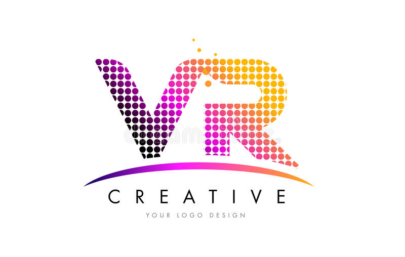 VR V R Letter Logo Design with Magenta Dots and Swoosh. VR V R Dots Letter Logo Design with Magenta Bubble Circles and Swoosh royalty free illustration